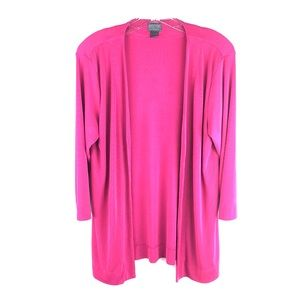 Chico's Cardigan Tunic Flowey Stretch Dark Pink 2A